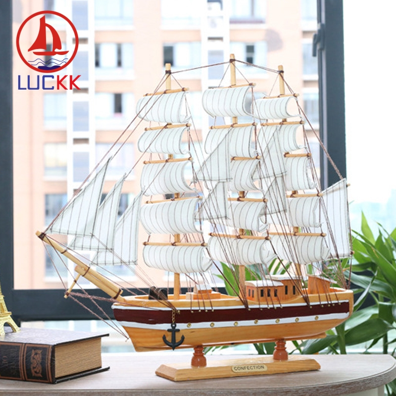 LUCKK 50CM Scandinavian Wooden Model Ships Home Decor Handmade Room Interior Ornament Carfts Nautical SailBoat Marine Figurine in Figurines Miniatures from Home Garden