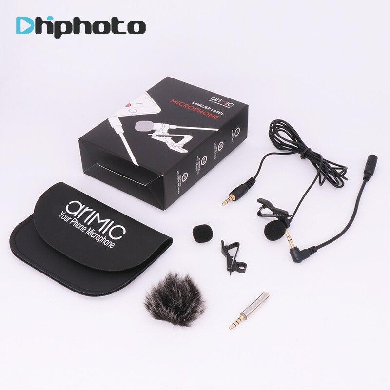 Arimic Lavalier Lapel Clip-on micrófono condensador omnidireccional con cable y parabrisas para iPhone Samsung