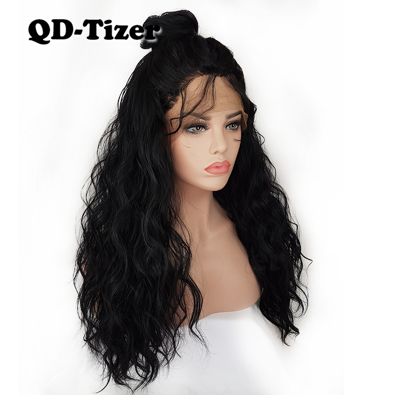 QD Tizer 180 Density Water wave Hair Synthetic Lace Front Wigs Black Color with Baby hair