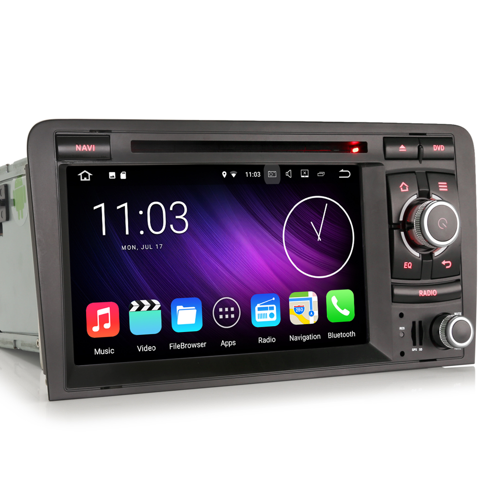 Android 7.1 Car Stereo CD DVD Player GPS Head Unit 3G DAB+ for AUDI A3 S3 RS3 RNSE-PU Sat Navi 3G OBD WIFI DVR DTV-IN Bluetooth