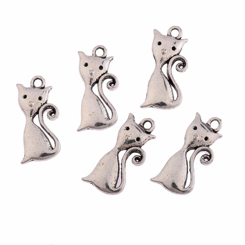 10pcs 23x11.5mm Tibetan Silver Plated lovely cats Charms Pendant DIY Jewelry Findings Free Shipping