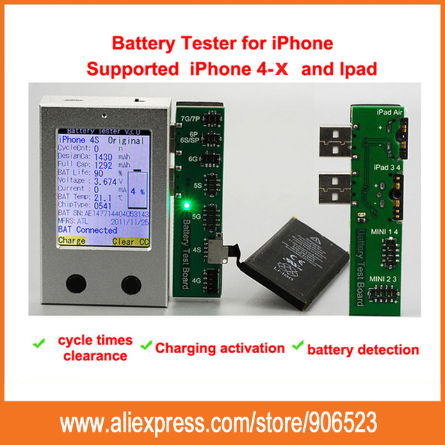 Free shipping Fast arrival For iPhone Battery Tester for iPhone 4 4S 5 5S  5C 6 6P 6S 6SP 7 7P 8G 8P X a key clear cycle 4e4527bd1a