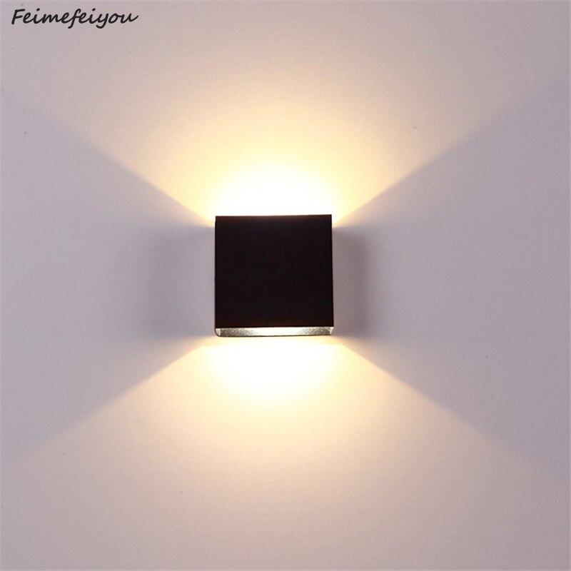 Feimefeiyou 6 w escurecimento lampada luminaria conduziu a luz da parede de alumínio projeto ferroviário quadrado conduziu a lâmpada cabeceira quarto iluminação