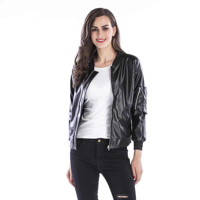 Kenancy Women Short Leather Jacket Long Sleeve Zipper European Style Motorcycle Jackets Casual Autumn Fashion Coat Solid Outwear leather jacket
