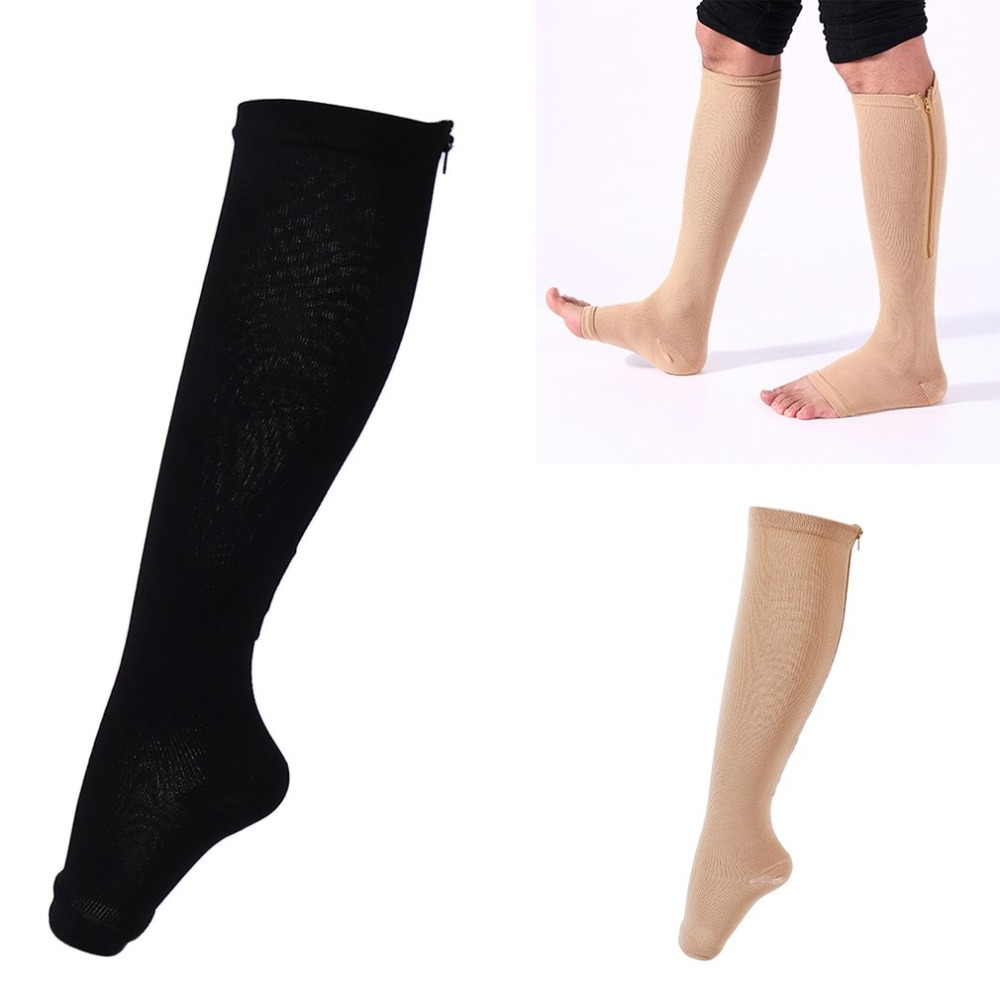 Comfortable Design Invisible Compression Socks Zip Sox Leg Support Unisex Open Toe Knee Stockings With Zipper 2018 New Selling