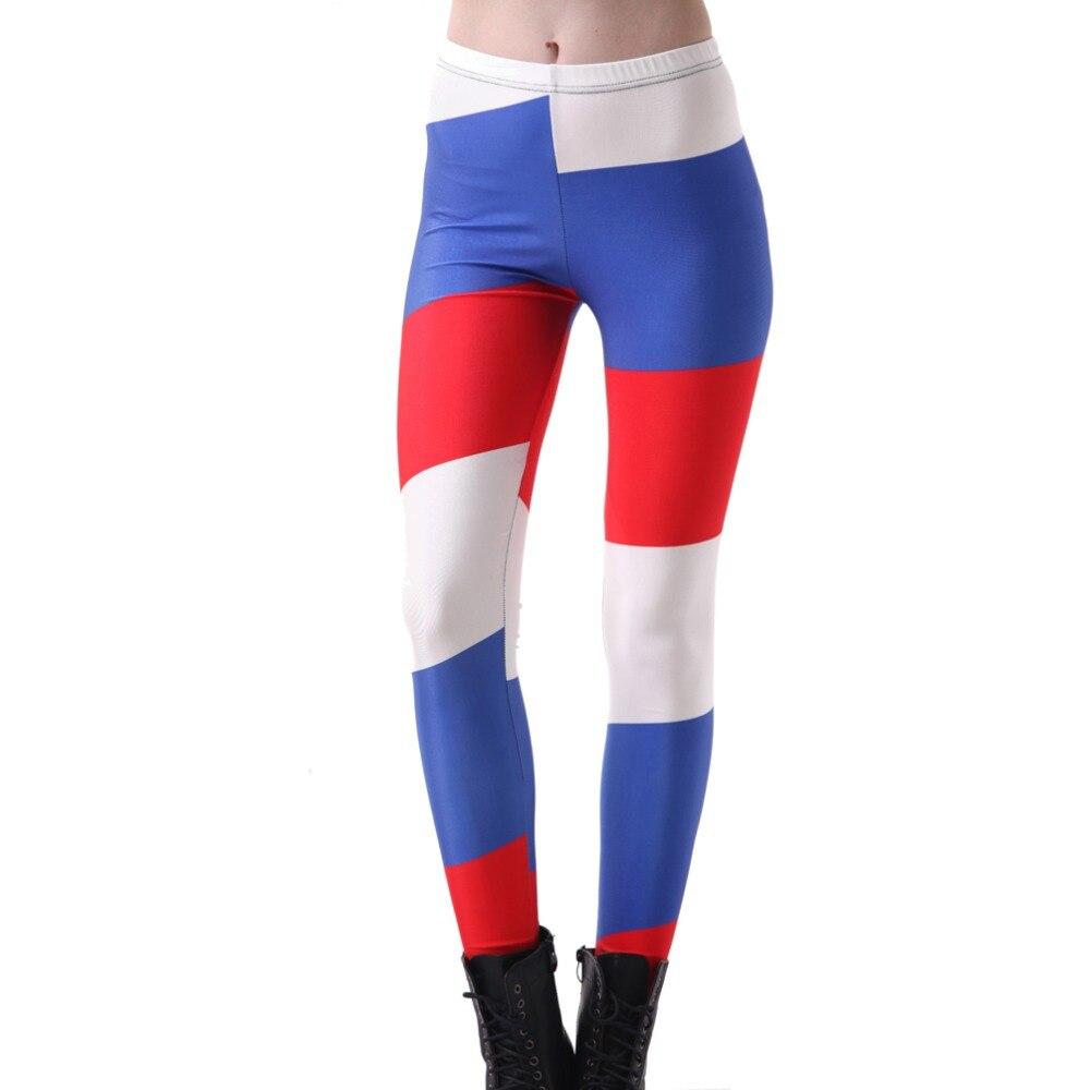 Elastic Casual Pants 3D Digital Printing Russian Flag Pattern Women Leggings 7 Sizes Fitness Clothing Free Shipping