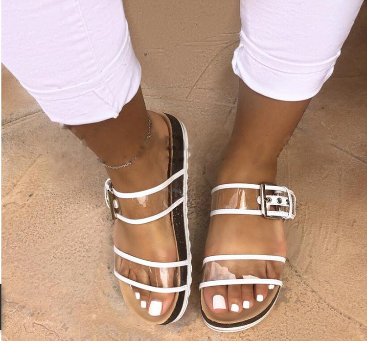 2019 Women's Sandals Summer Outside Slippers Ladies Cute Flat Buckle Slippers Women's  Hot 09(China)