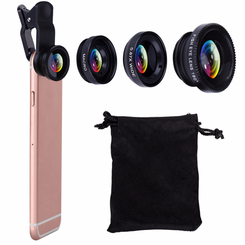 High Quality Vodool 3 in 1 Phone Clip Lens Fish Eye Lens + Wide Angle Lens + Micro Lens + Cloth Bag + Gift Box for Smartphone