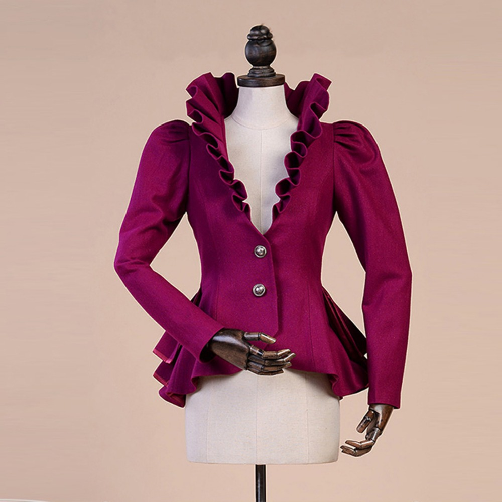 Fashion Spring autumn Woolen Coat Women royal court Ruffles Swallowtail Jackets Female Flounce Slim Woolen Suit Jacket