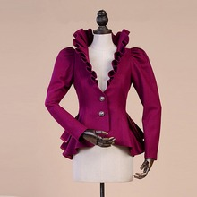 Woolen Coat Jacket Swallowtail-Jackets Spring Royal-Court Fashion Women Slim Ruffles