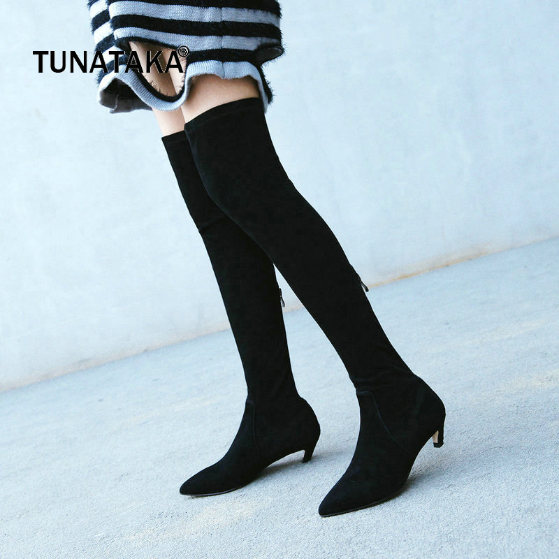 Suede Low Strange Style Zipper Woman Over The Knee Boots Pointed Toe Winter Stretch Boots Fashion Thigh Boots Black