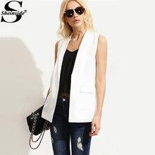 Sheinside Shawl Lapel Blazer Vest OL Elegant Open Front Women White Sleeveless Waistcoat Summer New Brief Slim Pockets Work Vest