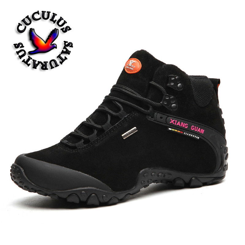 XIANG GUAN Outdoor Shoes Men Women Hiking Boots Genuine leather Waterproof Sport Shoes Non-slip Mountain Climbing Boots 82287 big size 46 men s winter sneakers plush ankle boots outdoor high top cotton boots hiking shoes men non slip work mountain shoes