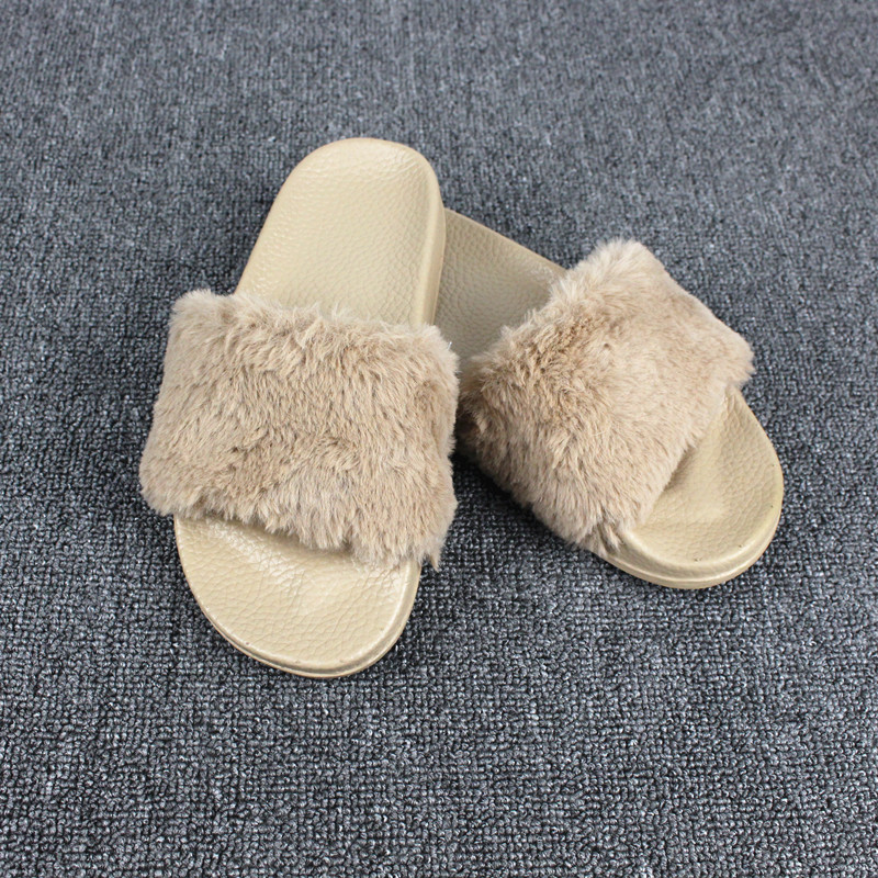 Women Summer Slippers Fur Slides Fashion Slip On Flats Flip Flop Anti-skidding Outdoor B ...