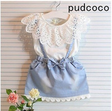 New Fashion Baby Kids Girls cotton Dress Cute Princess Sleeveless Denim Tulle Bowknot High-quality Dresses 2015 summer new stylish kids toddler girls princess dress sleeveless polka dots bowknot dress top quality cute