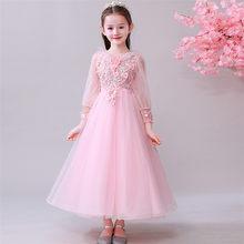2019Spring New Korean Sweet Pink Children Girls Embroidery flowers Birthday  Wedding Party Puffy Dress Teens Model d41614367054