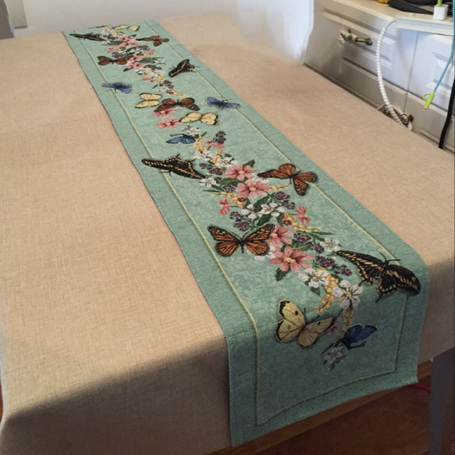 Vintage Erfly And Flower Rustic Table Runner 33x180cm Jacquard Dining Green Flag Home Wedding Decoration