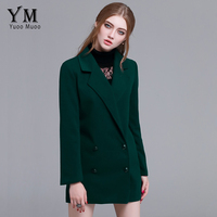 YuooMuoo European Fashion Women Casual Double Breasted Wool Coat High Quality Autumn Winter Female Woolen Jacket