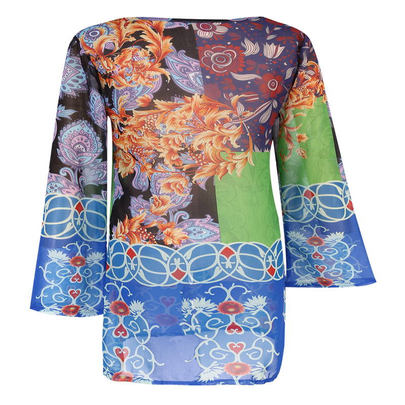 2017 New Plus Size Beach Cover Up Women Print Chiffon beach dress Swimwear  Cover Up Dress Beach Wear-in Cover-Ups from Sports   Entertainment on ... f843cbade056