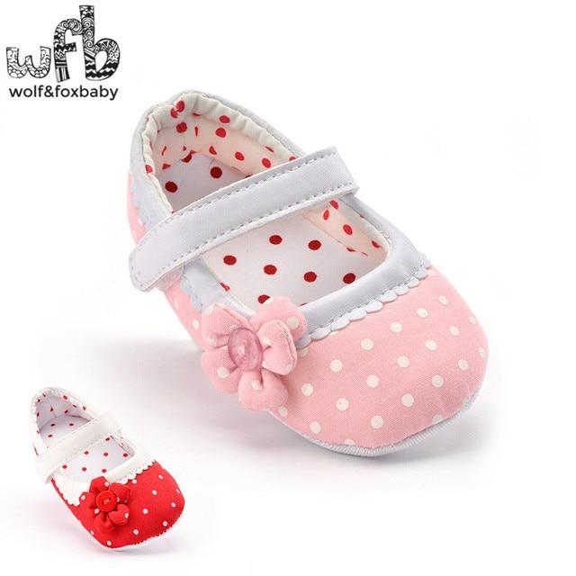 Retail First Walkers Soft Bottom Antiskid Dot Flowers sport fashion Baby Shoes Newborn infant Toddler