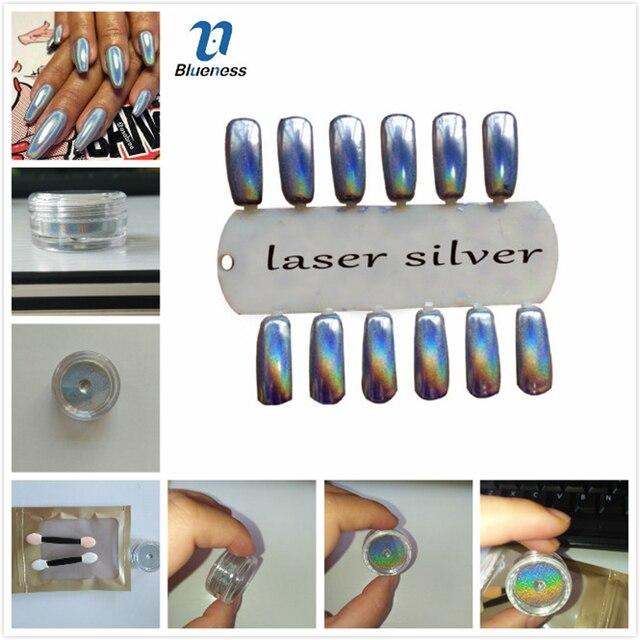 Azul Laser Del Arte Del Clavo de Manicura 1 g/caja Importaciones de Efecto Espejo Cromo En Polvo Polvo de Pigmento Para Pigmento de Uñas de Manicura de La Decoración