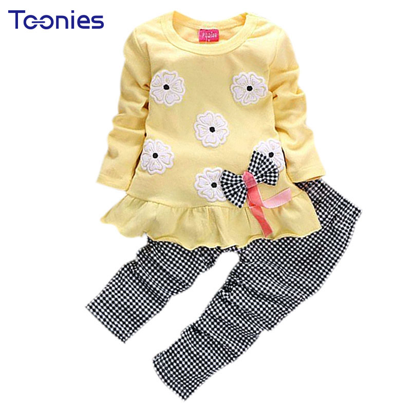 2017 Best Selling 2Pcs Set Flowers Print Cute Bow Girls Clothing Children Clothing Suit Baby Girl Clothes Top T-shirt And Pants