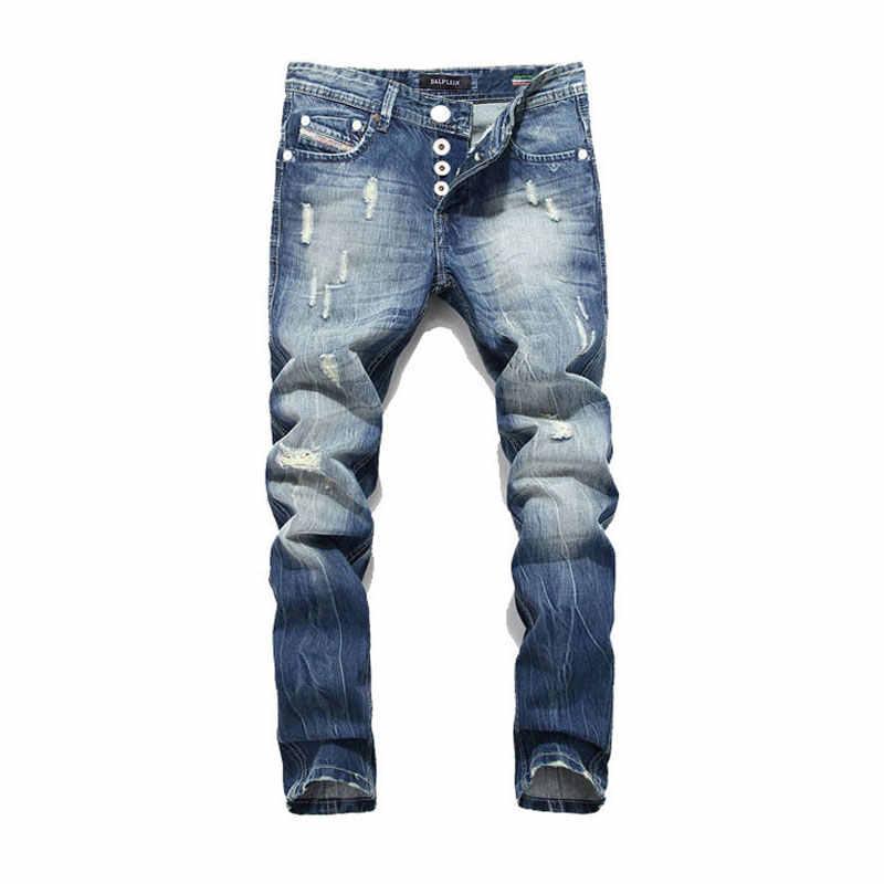 ¡2019 nueva venta caliente de los hombres de la moda Jeans Balplein marca recto Jeans de diseñador italiano cuero Denim Jeans Homme! a982