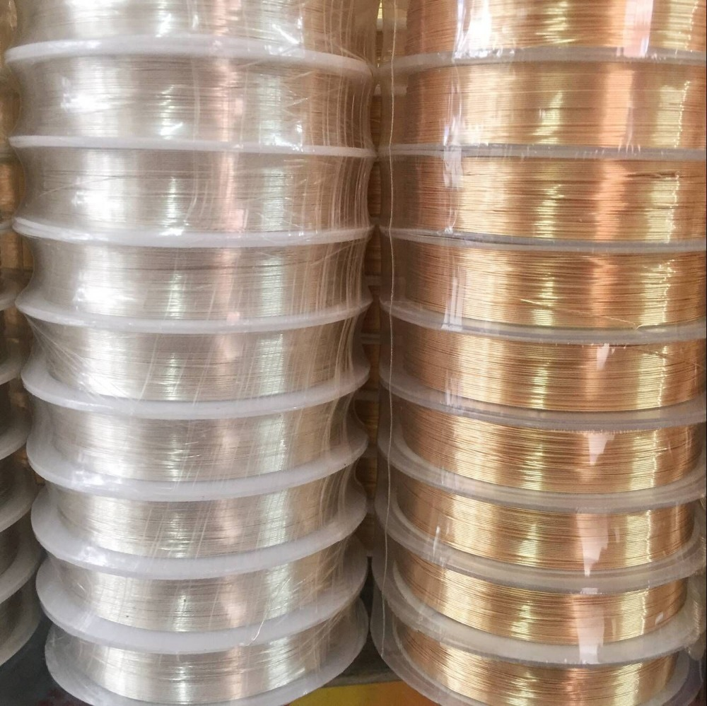 High Quality 0.3-0.6MM Silver KC Gold Color Non-tarnish Copper Wires Ropes DIY Jewelry Findings Accessories