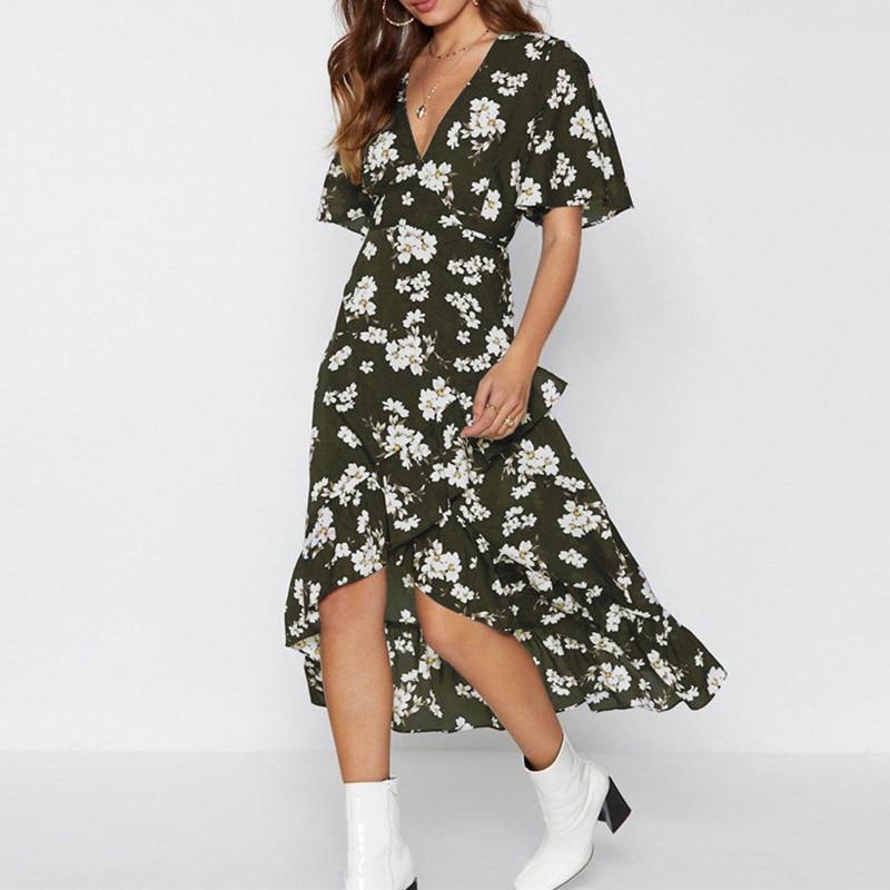 2019 Summer Beach Dress Women Floral Print Chiffon Sexy Party Dresses Casual V Neck Short Sleeve Bandage Boho Sundress Vestidos