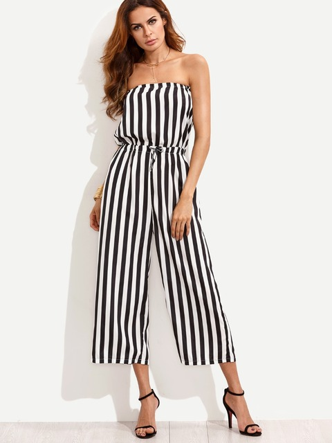fbaa797bad1 S-2XL New 2017 Summer Fashion Sexy Loose Black White Stripes Jumpsuits and  Rompers Calf Length Club Beach Elastic Band Overalls