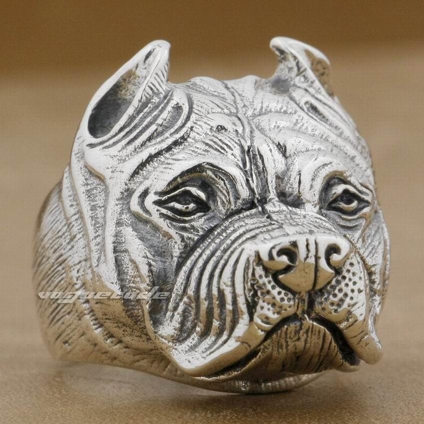 Pitbull Pit Bull chien solide 925 en argent Sterling hommes Biker Rocker Punk anneau 8E010 taille américaine 7 à 15