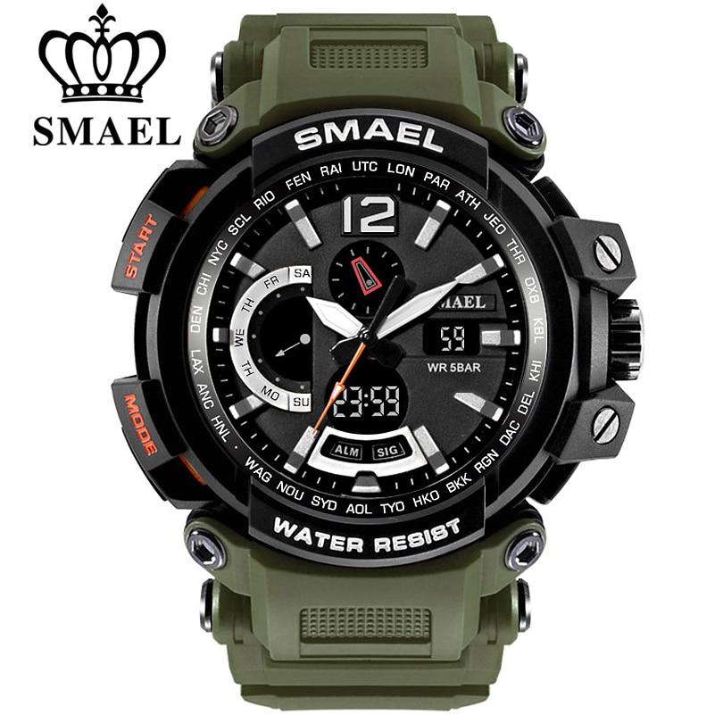 Saatler'ten Spor Saatler'de SMAEL üst marka lüks spor izle erkekler dijital saatler 5Bar su geçirmez askeri çift ekran saatı Relogio Masculino 1702 title=