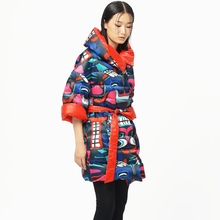 LYNETTE'S CHINOISERIE – Qing Chen Winter Original Design Women White Duck Down Reversible Cocoon Colorful Print Down Jacket Coat