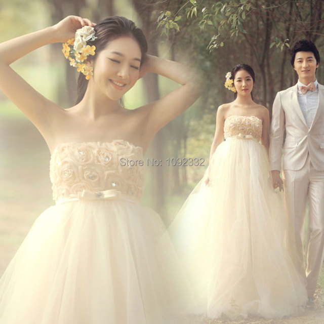 3633323018 US $56.99  s Stock 2016 New Plus size pregnant women Sweet high waist  maternity wedding dress bridal gown tube top vestidos de noiva-in Wedding  ...