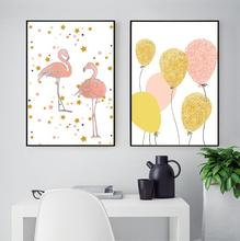 2 Panels Unframed Scandinavian Watercolor Pied Flamingo Decorative Canvas Painting on The Wall Childrens Room Poster