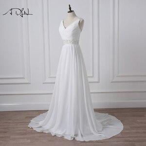 Image 3 - ADLN 2020 Strand Hochzeit Kleider V ausschnitt Böhmischen Chiffon Perlen Braut Kleid Nach Maß Brautkleider Vestidos de Novia