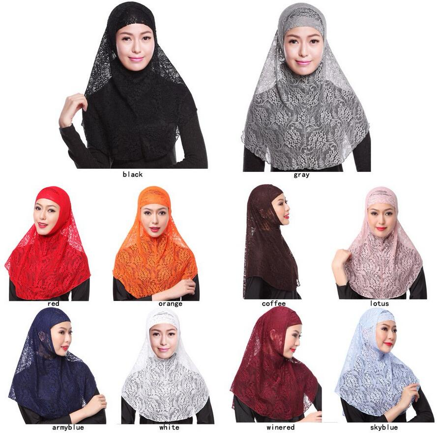 10 colors Full Cover Muslim Hat Hijab Two Piece Set Lace Hoofddoek Moslima Solid Islamic Head Turbans For Women Cap