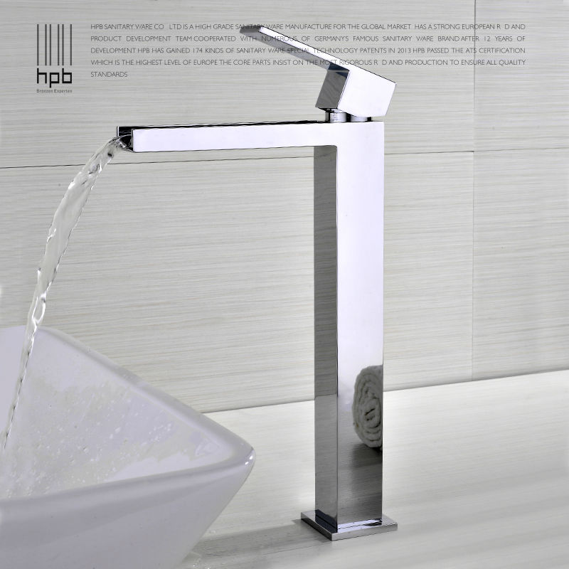 HPB Brass Waterfall Bathroom Deck Mounted Basin Faucet Hot and Cold Water Tap Mixer torneira HP3106 hpb brass morden kitchen faucet mixer tap bathroom sink faucet deck mounted hot and cold faucet torneira de cozinha hp4008