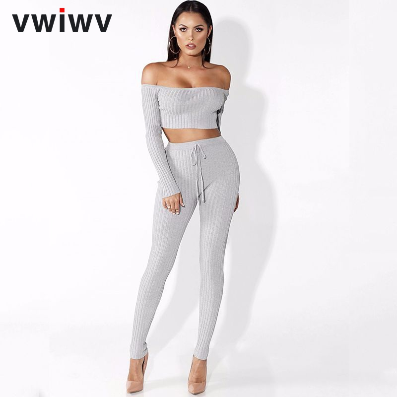 VWIWV 2018 Fashion Women Two Piece Set Crop Top And Jumpsuits Set Solid Bodycon Track Suit Ladies Pant Suits O-Nec Casual Suits