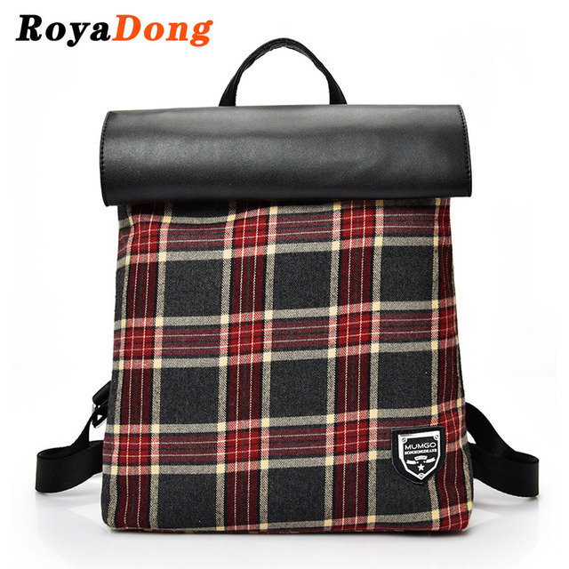 Royadong 2017 mulheres mochilas moda xadrez pacote diário sacos de sacos de escola para meninas multi-uso
