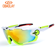 Obaolay Polarized Sports Men Sunglasses Road Cycling Glasses Mountain Bike Bicycle Riding Protection Goggles Eyewear 5 Lens 2017