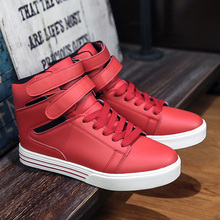 High Quality Men Boots Shoes 2016 Fashion High Top Men's Casual Justin Shoes Red Leather Bottom Brand Shoes Black Boots