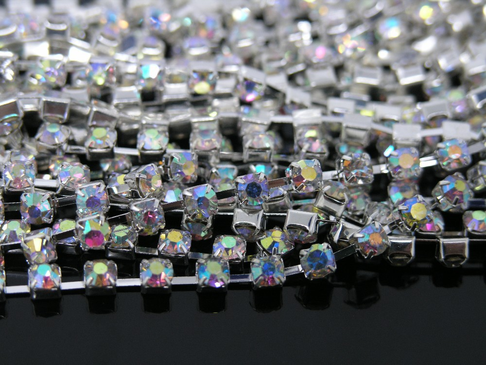 10 Yard 5mm SS24 Grade A Crystal AB Rhinestone Crystal Siver Chain Band  Wedding Favor 3b016164c83d