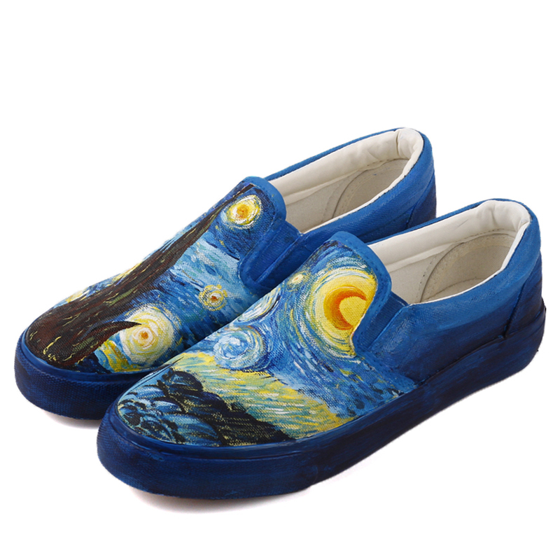 E-LOV Full Hand Painted Starry Night Canvas Shoes Loafers High End Women Tenis Espadrilles Couples Lovers Slip-on e lov women casual walking shoes graffiti aries horoscope canvas shoe low top flat oxford shoes for couples lovers