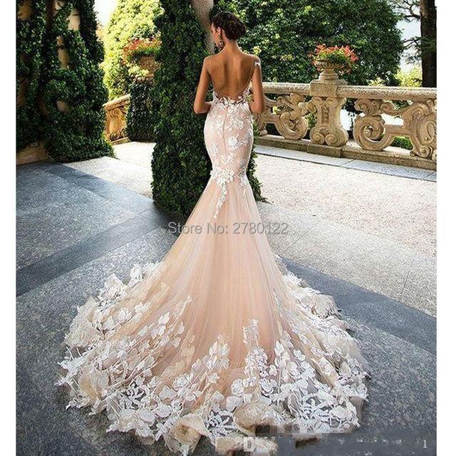 1b19a2e2eab Romantic Champagne Pink Mermaid Wedding Dresses 2019 Open Back Gorgeous  Appliques Robe De Mariage Bride Gown Plus Size