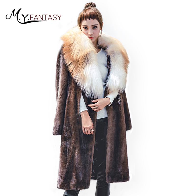 M.Y.FANSTY 2017 Shuba Winter Women's Coat Two Wear Style Coat cloak Shawl Real Fur Coat With Fox Fur Collar X Long Mink Coats