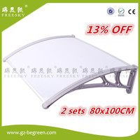 YP80100 80x100cm 2 Sets Clear White Black Sunshade Door Canopy Polycarbonat Awning Economy Price For 2