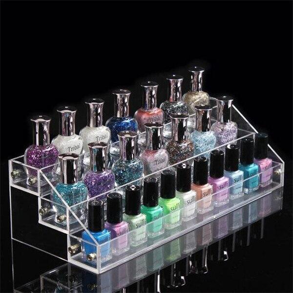3 Tiered Makeup Organizer Display Stand Nail Polish nail polish Cosmetic Storage Box clear Showcase Rack