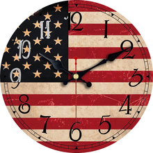 Patriotism American Lag Clock Silent Living Study Kitchen Gallery Wall Art Watches Vintage Large Gift 3 Size