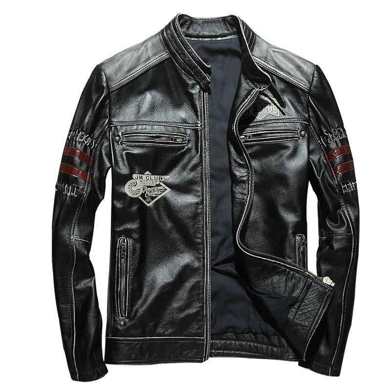 40fdb5a96be 2018 Vintage Black Men Slim Fit Biker s Leather Jacket Plus Size XXXL Genuine  Cowhide Russian Short Leather Coat FREE SHIPPING